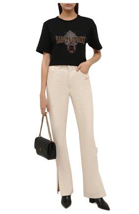 Женская хлопковая футболка SAINT LAURENT черного цвета, арт. 673411/Y36LW   Фото 2 (Материал внешний: Хлопок; Длина (для топов): Стандартные; Рукава: Короткие; Стили: Спорт-шик; Принт: С принтом; Женское Кросс-КТ: Футболка-одежда)