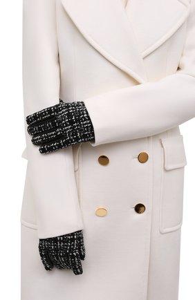 Женские кожаные перчатки SAINT LAURENT черно-белого цвета, арт. 676913/3YI52 | Фото 2