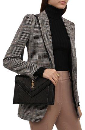 Женская сумка gaby SAINT LAURENT черного цвета, арт. 668863/1EL07 | Фото 2 (Размер: medium; Ремень/цепочка: На ремешке; Материал: Натуральная кожа; Сумки-технические: Сумки через плечо)