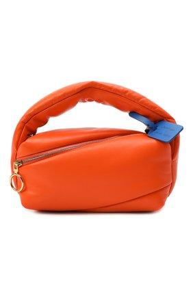 Женская сумка pump pouch OFF-WHITE оранжевого цвета, арт. 0WNP007F21LEA001   Фото 1 (Материал: Натуральная кожа; Размер: medium, small; Сумки-технические: Сумки top-handle; Ремень/цепочка: На ремешке)