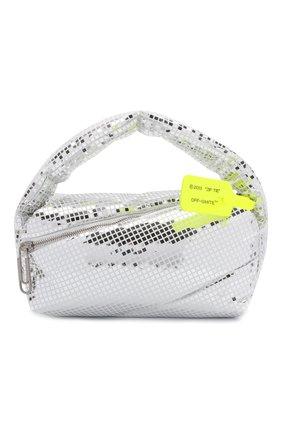Женская сумка pump pouch OFF-WHITE серебряного цвета, арт. 0WNP007F21FAB002 | Фото 1 (Материал: Экокожа; Размер: small; Ремень/цепочка: На ремешке; Сумки-технические: Сумки top-handle)
