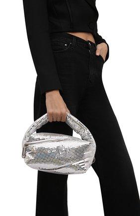 Женская сумка pump pouch OFF-WHITE серебряного цвета, арт. 0WNP007F21FAB002 | Фото 2 (Материал: Экокожа; Размер: small; Ремень/цепочка: На ремешке; Сумки-технические: Сумки top-handle)