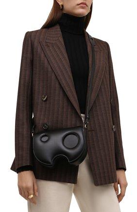 Женская сумка burrow OFF-WHITE черного цвета, арт. 0WNN031F21LEA001   Фото 2 (Размер: mini; Материал: Натуральная кожа; Ремень/цепочка: На ремешке; Сумки-технические: Сумки через плечо)