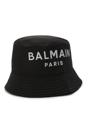 Детская панама BALMAIN черного цвета, арт. 6P0667 | Фото 1 (Материал: Синтетический материал, Текстиль)