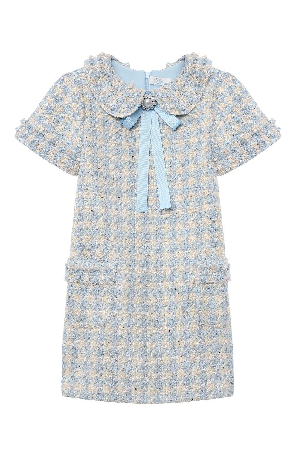 Детское хлопковое платье коко ZHANNA & ANNA голубого цвета, арт. ZABL01032021 | Фото 1 (Случай: Вечерний; Рукава: Короткие; Девочки Кросс-КТ: Платье-одежда)