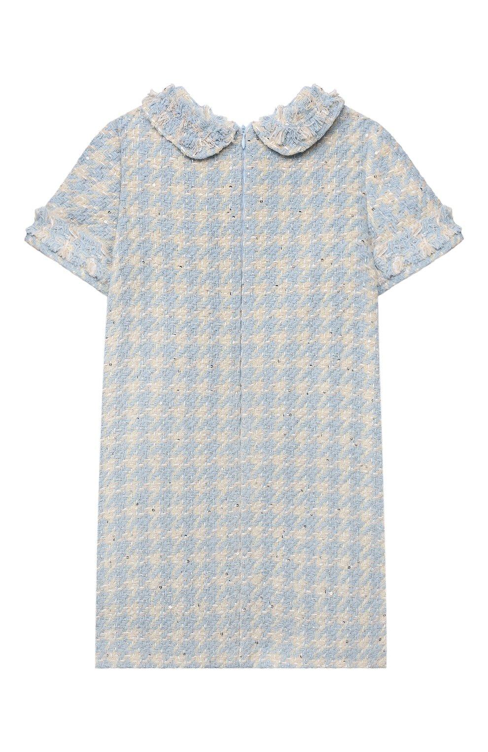 Детское хлопковое платье коко ZHANNA & ANNA голубого цвета, арт. ZABL01032021 | Фото 2 (Случай: Вечерний; Рукава: Короткие; Девочки Кросс-КТ: Платье-одежда)