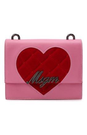 Детская сумка MSGM KIDS розового цвета, арт. MS027727   Фото 1 (Материал: Экокожа)