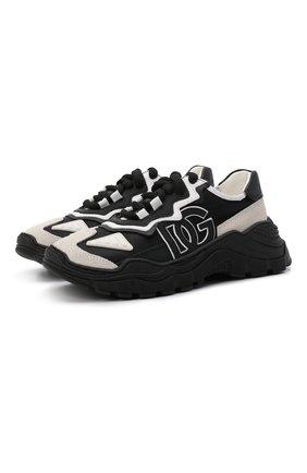 Детские кроссовки DOLCE & GABBANA черно-белого цвета, арт. DA5036/AQ664/24-28   Фото 1 (Материал внешний: Текстиль; Материал внутренний: Натуральная кожа)