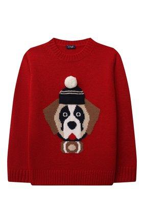 Детский шерстяной пуловер IL GUFO красного цвета, арт. A21MA364EM220/5A-8A   Фото 1 (Рукава: Длинные; Материал внешний: Шерсть; Мальчики Кросс-КТ: Пуловер-одежда)