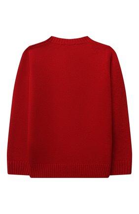 Детский шерстяной пуловер IL GUFO красного цвета, арт. A21MA364EM220/5A-8A   Фото 2 (Рукава: Длинные; Материал внешний: Шерсть; Мальчики Кросс-КТ: Пуловер-одежда)