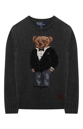 Детский шерстяной пуловер POLO RALPH LAUREN серого цвета, арт. 323857438 | Фото 1 (Рукава: Длинные; Материал внешний: Шерсть; Мальчики Кросс-КТ: Пуловер-одежда)