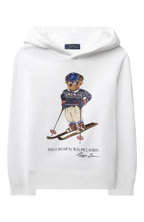 Детский хлопковое худи POLO RALPH LAUREN белого цвета, арт. 323853823 | Фото 1 (Рукава: Длинные; Материал внешний: Хлопок; Мальчики Кросс-КТ: Толстовка-одежда)