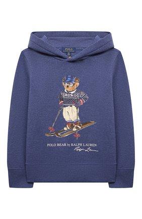 Детский хлопковое худи POLO RALPH LAUREN голубого цвета, арт. 323853823 | Фото 1 (Рукава: Длинные; Материал внешний: Хлопок; Мальчики Кросс-КТ: Толстовка-одежда)