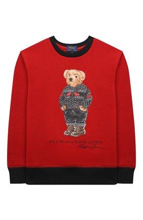 Детский хлопковый свитшот POLO RALPH LAUREN красного цвета, арт. 323853820 | Фото 1 (Материал внешний: Хлопок; Рукава: Длинные; Мальчики Кросс-КТ: Толстовка-одежда)