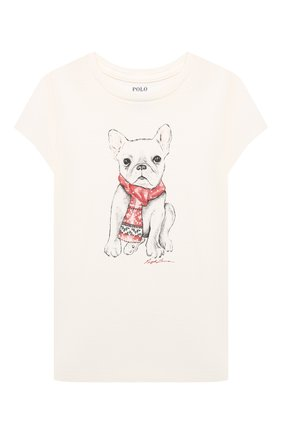 Детская хлопковая футболка POLO RALPH LAUREN кремвого цвета, арт. 312853363 | Фото 1 (Рукава: Короткие; Материал внешний: Хлопок)