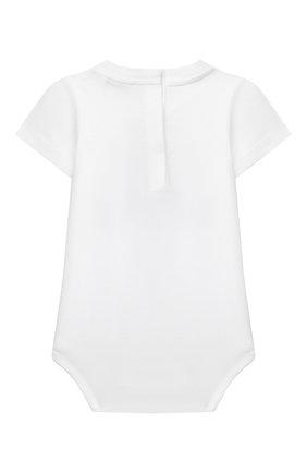 Детское хлопковое боди DOLCE & GABBANA белого цвета, арт. L2J0U5/G7BHE   Фото 2 (Материал внешний: Хлопок; Рукава: Короткие)