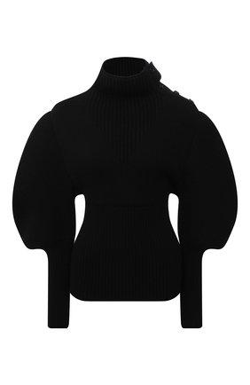 Женский шерстяной пуловер BOTTEGA VENETA черного цвета, арт. 679758/V1F50   Фото 1 (Длина (для топов): Стандартные; Рукава: Длинные; Материал внешний: Шерсть; Стили: Гламурный; Женское Кросс-КТ: Пуловер-одежда)