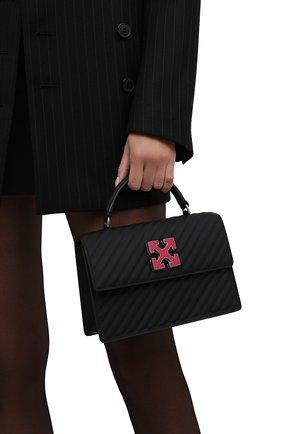 Женская сумка 1.4 jitney OFF-WHITE черного цвета, арт. 0WNP003F21LEA004   Фото 2 (Материал: Натуральная кожа; Размер: small; Сумки-технические: Сумки top-handle; Ремень/цепочка: На ремешке)