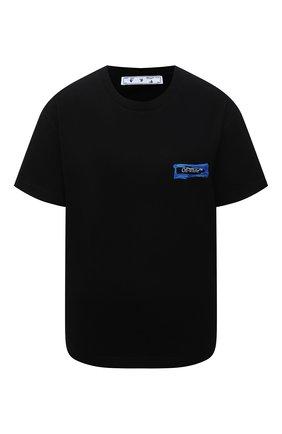 Женская хлопковая футболка OFF-WHITE черного цвета, арт. 0WAA089F21JER012 | Фото 1 (Рукава: Короткие; Длина (для топов): Стандартные; Материал внешний: Хлопок; Стили: Спорт-шик; Принт: С принтом; Женское Кросс-КТ: Футболка-одежда)