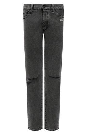 Мужские джинсы OFF-WHITE серого цвета, арт. 0MYA128F21DEN001   Фото 1 (Материал внешний: Хлопок; Кросс-КТ: Деним; Силуэт М (брюки): Прямые; Стили: Гранж; Длина (брюки, джинсы): Стандартные)