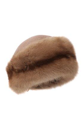 Женская шапка-кубанка из меха норки и соболя KUSSENKOVV бежевого цвета, арт. 061913694080   Фото 1 (Материал: Натуральный мех)