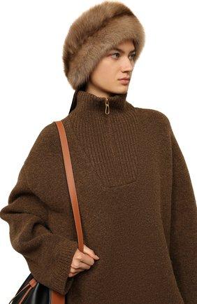 Женская шапка-кубанка из меха норки и соболя KUSSENKOVV бежевого цвета, арт. 061913694080   Фото 2 (Материал: Натуральный мех)