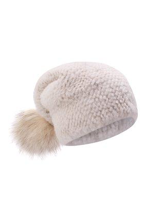 Женская шапка из меха норки KUSSENKOVV кремвого цвета, арт. 052050024205 | Фото 1 (Материал: Натуральный мех)