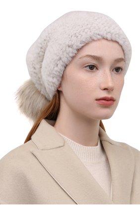 Женская шапка из меха норки KUSSENKOVV кремвого цвета, арт. 052050024205 | Фото 2 (Материал: Натуральный мех)