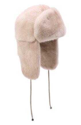 Женская шапка-ушанка из меха норки KUSSENKOVV светло-бежевого цвета, арт. 099600012093 | Фото 1 (Материал: Натуральный мех)