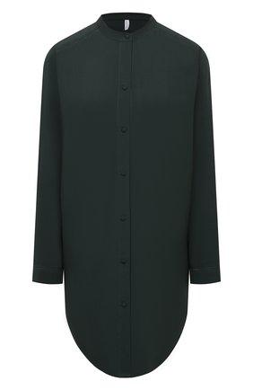Женская сорочка из вискозы SIMONEPERELE темно-зеленого цвета, арт. 18S958   Фото 1 (Длина Ж (юбки, платья, шорты): Мини; Материал внешний: Вискоза; Рукава: Длинные)