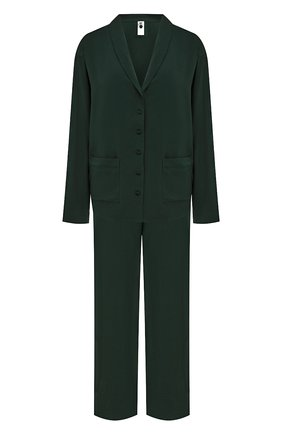 Женская пижама из вискозы SIMONEPERELE темно-зеленого цвета, арт. 18S957-18S660   Фото 1 (Длина (брюки, джинсы): Стандартные; Материал внешний: Вискоза; Длина Ж (юбки, платья, шорты): Мини; Длина (для топов): Стандартные)
