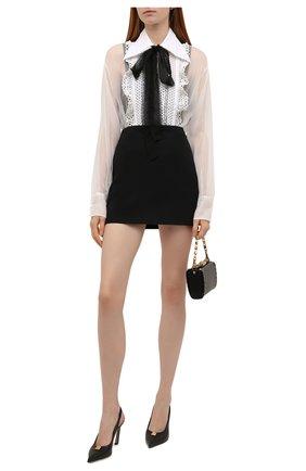 Женская шелковая блузка VALENTINO белого цвета, арт. WB0AB3051C8   Фото 2 (Материал внешний: Шелк; Длина (для топов): Удлиненные; Рукава: Длинные; Женское Кросс-КТ: Блуза-одежда; Стили: Бохо)