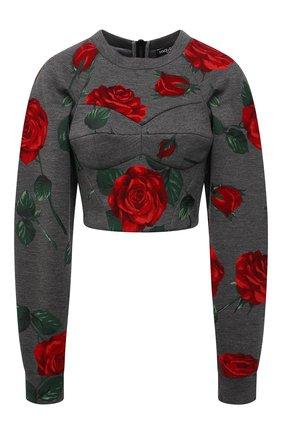 Женский пуловер из вискозы DOLCE & GABBANA серого цвета, арт. F9L07T/FPG65 | Фото 1 (Материал подклада: Хлопок; Длина (для топов): Укороченные; Рукава: Длинные; Материал внешний: Вискоза; Женское Кросс-КТ: Пуловер-одежда; Стили: Романтичный)