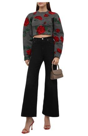 Женский пуловер из вискозы DOLCE & GABBANA серого цвета, арт. F9L07T/FPG65 | Фото 2 (Материал подклада: Хлопок; Длина (для топов): Укороченные; Рукава: Длинные; Материал внешний: Вискоза; Женское Кросс-КТ: Пуловер-одежда; Стили: Романтичный)