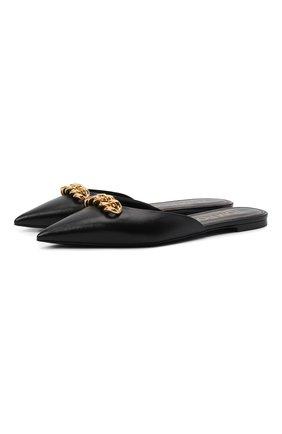 Женские кожаные сабо TOM FORD черного цвета, арт. W2998T-LSP002 | Фото 1 (Материал внутренний: Натуральная кожа; Подошва: Плоская; Каблук высота: Низкий)