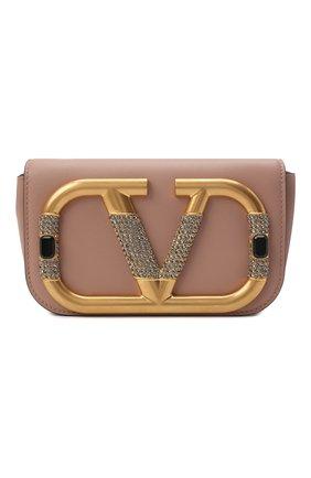 Женская сумка supervee mini VALENTINO бежевого цвета, арт. WW0P0W76/CCU | Фото 1 (Материал: Натуральная кожа; Сумки-технические: Сумки через плечо)