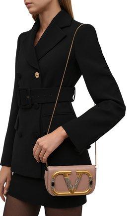 Женская сумка supervee mini VALENTINO бежевого цвета, арт. WW0P0W76/CCU | Фото 2 (Материал: Натуральная кожа; Сумки-технические: Сумки через плечо)