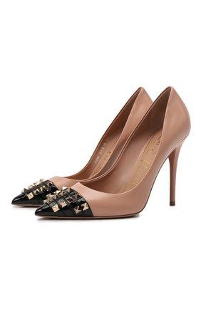 Женские кожаные туфли rockstud alcove VALENTINO бежевого цвета, арт. WW0S0DE5/YGD | Фото 1 (Подошва: Плоская; Каблук высота: Высокий; Материал внутренний: Натуральная кожа; Каблук тип: Шпилька)