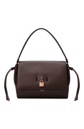 Женская сумка padlock medium TOM FORD темно-коричневого цвета, арт. L1500T-LCL201   Фото 1 (Размер: medium; Материал: Натуральная кожа; Ошибки технического описания: Нет ширины; Сумки-технические: Сумки top-handle)