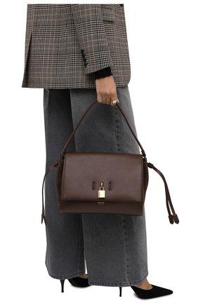 Женская сумка padlock medium TOM FORD темно-коричневого цвета, арт. L1500T-LCL201   Фото 2 (Размер: medium; Материал: Натуральная кожа; Ошибки технического описания: Нет ширины; Сумки-технические: Сумки top-handle)
