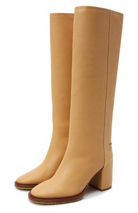Женские кожаные сапоги edith CHLOÉ светло-бежевого цвета, арт. CHC21W519V3   Фото 1 (Материал внутренний: Натуральная кожа; Высота голенища: Средние; Подошва: Плоская; Каблук высота: Высокий; Каблук тип: Устойчивый)