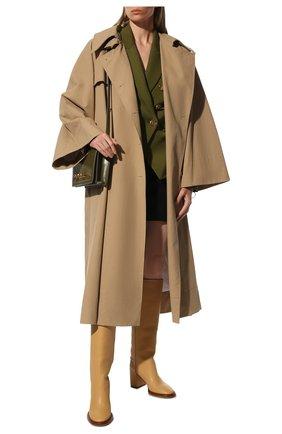Женские кожаные сапоги edith CHLOÉ светло-бежевого цвета, арт. CHC21W519V3   Фото 2 (Материал внутренний: Натуральная кожа; Высота голенища: Средние; Подошва: Плоская; Каблук высота: Высокий; Каблук тип: Устойчивый)