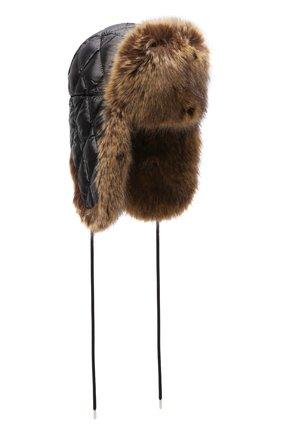 Женская пуховая шапка-ушанка MONCLER черного цвета, арт. G2-093-3B000-43-68950 | Фото 1 (Материал: Текстиль, Синтетический материал)