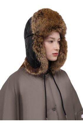 Женская пуховая шапка-ушанка MONCLER черного цвета, арт. G2-093-3B000-43-68950 | Фото 2 (Материал: Текстиль, Синтетический материал)