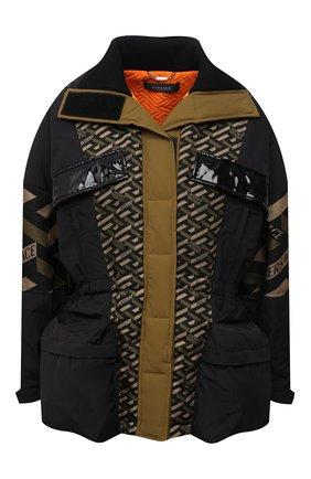Женский утепленная куртка VERSACE хаки цвета, арт. 1001682/1A01411   Фото 1 (Материал внешний: Синтетический материал; Длина (верхняя одежда): Короткие; Материал подклада: Синтетический материал; Рукава: Длинные; Кросс-КТ: Куртка, Пуховик; Стили: Спорт-шик)