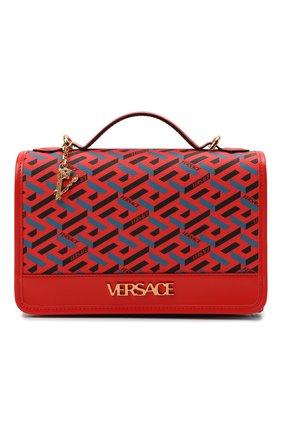 Женская сумка monogram VERSACE красного цвета, арт. 1001908/1A02129 | Фото 1 (Материал: Экокожа; Сумки-технические: Сумки top-handle, Сумки через плечо; Размер: small; Ремень/цепочка: На ремешке)