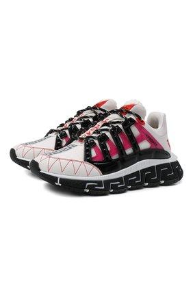Женские комбинированные кроссовки trigreca VERSACE белого цвета, арт. DST539G/1A01761 | Фото 1 (Материал внутренний: Текстиль; Подошва: Платформа; Материал внешний: Текстиль)