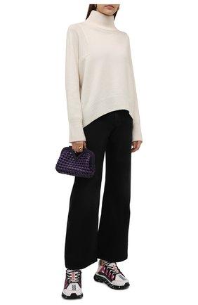 Женские комбинированные кроссовки trigreca VERSACE белого цвета, арт. DST539G/1A01761 | Фото 2 (Материал внутренний: Текстиль; Подошва: Платформа; Материал внешний: Текстиль)