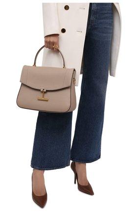 Женская сумка tara TOM FORD бежевого цвета, арт. L1447T-LCL208   Фото 2 (Размер: medium; Ремень/цепочка: На ремешке; Материал: Натуральная кожа; Сумки-технические: Сумки top-handle, Сумки через плечо)