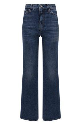 Женские джинсы TOTÊME синего цвета, арт. 214-231-747   Фото 1 (Длина (брюки, джинсы): Стандартные; Материал внешний: Хлопок; Кросс-КТ: Деним; Детали: Потертости; Силуэт Ж (брюки и джинсы): Расклешенные; Стили: Кэжуэл)
